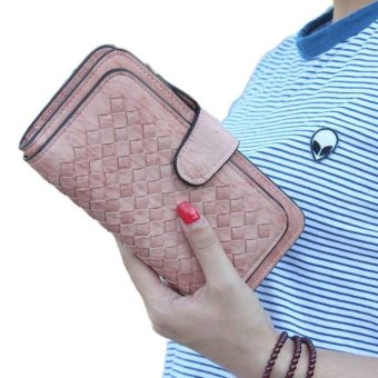 Women Portable Long Lovely Weave Leather Wallet Card Holder Wallet Purse - intl