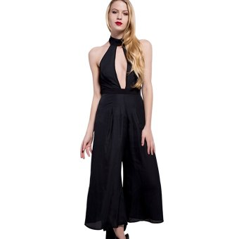 Neck Hung Backless Hollowed-Out Design Sleeveless Chiffon Jumpsuits(Black) - Intl--TC