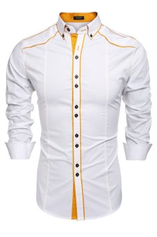 Cyber COOFANDY Men Fashion Turn Down Collar Long Sleeve Contrast Color Cotton Button Down Casual Shirts (White) - intl