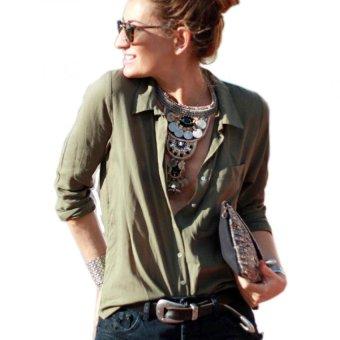 Woman's Shirt long sleeve S (Army Green) - Intl--TC - intl