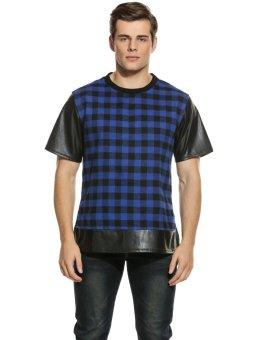 Linemart Mens Casual Short Sleeve O Neck Plaid Leather Patchwork Shirt ( Dark Blue ) - intl