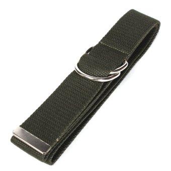 Unisex Buckle Waist Belt Mens Boys Plain Webbing Waistband Casual Canvas Belt Dark Green - intl