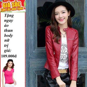Áo khoác da cổ cài nút cách điệu (Đỏ) + Tặng 1 áo thun body nữ