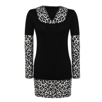 Cyber Finejo Stylish Ladies WomenLong Sleeve Leopard Stretch Bodycon Patchwork Mini Dress (Black) - Intl