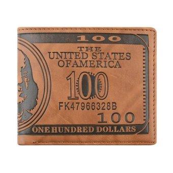Moonar Men's Fashion Creative US Dollar Pattern Bi-fold PU Leatehr Wallet (Dark Brown) - intl