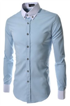 Reverieuomo CS29 Single-Breasted Shirt Sky Blue - Intl