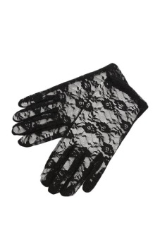 Fancyqube Women Lace Gloves Wedding Ritual Performances Gloves Black