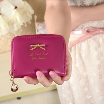 Women Fashion Cute Purse Clutch Wallet Short Small Bag PU Card Holder Hot Pink - intl