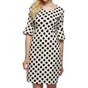 Cyber ANGVNS Women 1950s Vintage Style Half Flare Sleeve Polka Dot Wedding Party Bodycon Cocktail Dress - Intl