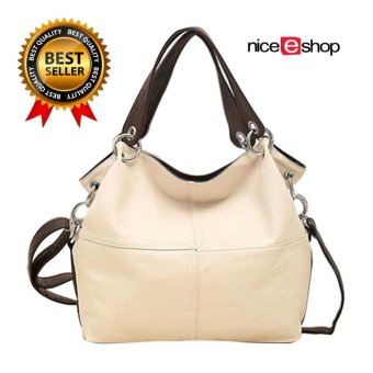 niceEshop Fashion Retro Style PU Leather Messenger Bag Tote Bag for Women, Creamy White - Intl - intl