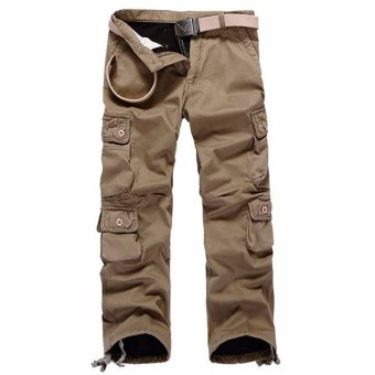Men's Outdoor Sports Thickening of Cotton Trousers Climbing and Jogging Pants (Khaki) - intl
