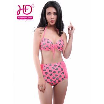 Bikini cạp cao trái tim hồng 17006