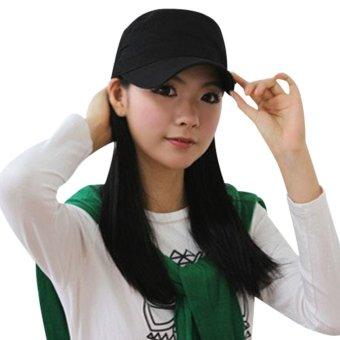 Unisex Men Women Adjustable Outdoor Air Cap Plate Cap Sun Hat Black (Intl) - intl