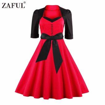 Zaful Women Fashion Retro Hepburn Style Dress Rockabilly Pleated Party (Red) - intl