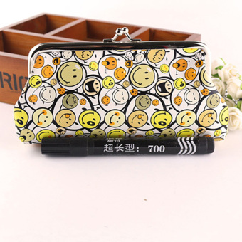 Women Lovely Style Lady Wallet Hasp Smile Purse Clutch Bag Yellow