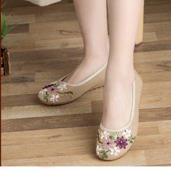 Giày búp bê thêu hoa, lót cói, đế cao su STT-GN2347 (EU: 35-39)