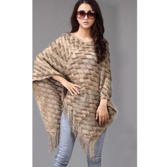 Cyber Fashion Women Korean Style Batwing Sleeve Fringe Irregular Hem Loose Cloak Cover Up Tops Knitting(Beige)(Intl) - Intl