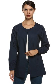 Cyber ANGVNS Women Workwear Warm Up Solid Color Jacket ( Blue ) - intl