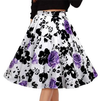Fancyqube Retro Pleated Maxi Long Skirt Purple