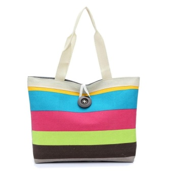 Lady Colored stripes Shopping Handbag Shoulder Canvas Bag Tote Purse Hot Pink - intl
