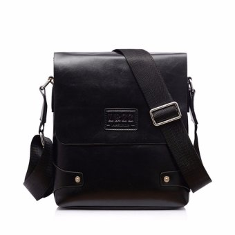 Leather Briefcase Casual Business Messenger Crossbody Handbag Black - Intl