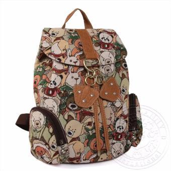 Balo nữ nhiều hình gấu dav danny có 2 túi bên hông màu nâu nhạt dành cho bạn gái - DD146P859