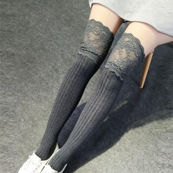 Moonar Lace Cotton Knitting Hosiery Over Knee Thigh Stockings High For Women Socks Pantyhose ( #3 ) - intl