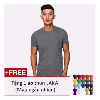 Áo thun nam LAKA màu xám LKA15 + tặng 1 áo thun nam cùng loại màu sắc ngẫu nhiên