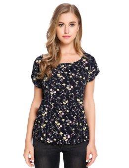 Linemart Women Casual O-Neck Short Cuffed Sleeve Prints Pullover Chiffon T-Shirt ( Blue ) - intl