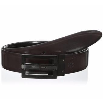 Thắt lưng (nịt) thể thao nam 2 mặt nâu/đen Geoffrey Beene Men's 1 1/4 Feather-Edge Plaque Belt (Mỹ)