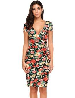 Cyber Women Sexy V-Neck Short Sleeve Prints Pleated Elastic Package Hip Dress ( Black ) - intl