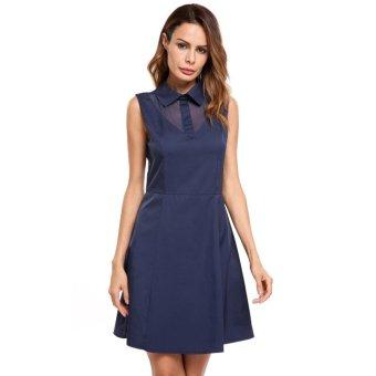 Cyber Women Casual Turndown Collar Sleeveless Sexy Mesh Patchwork Solid Mini Dress ( Navy Blue ) - intl