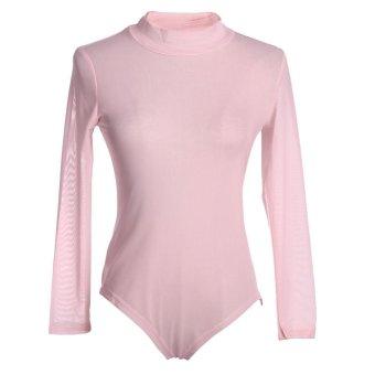 Womeneh heer Bodysuiteotard Turteneck Jupsuit (Pink) - intl