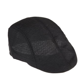 Mens Vintage Flat Cap Peaked Racing Hat Beret Country Golf Newsboy(Black) (Intl)