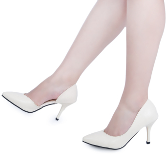 Solid Color Leather Pointed Toe Slip On Thin High Heel Shoes(Nude) - intl