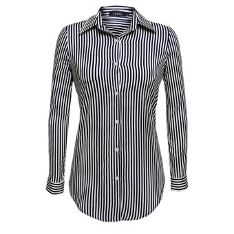 Sunweb Finejo Women Fashion Casual Button Down Striped Long Shirt Tops ( Blue ) - intl