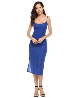 Cyber Women Casual Sleeveless Spaghetti Strap V Neck Pullover Pencil Dress ( Blue ) - intl