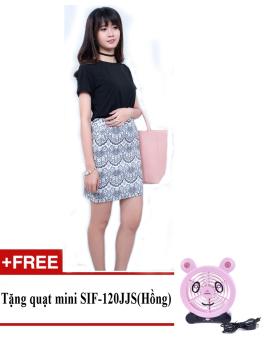 Chân váy midi công sở họa tiết hoa văn Zaskin Korea ZA03V6 + Tặng quạt mini shinil SIF-120JJS (Hồng)