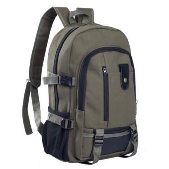 Men Backpack Bags Multipurpose Canvas Travel Hiking Outdoor High School Student College Shoulders Rucksack for Mini iPad Samsung Galaxy 14 Inch Laptop Army Green - intl