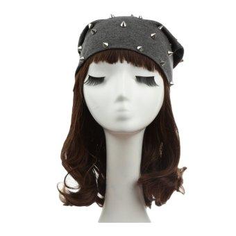 New Fashion Unisex Men Women Beanie Rivet Decoration Solid Design Hip-Hop Slouch Headwear Hat - Intl