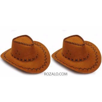Bộ 2 mũ rộng vành nam kiểu cao bồi da lộn Rozalo RM2807N - Nâu