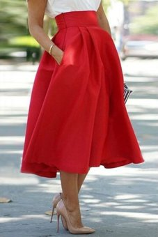 Noble High Waist Pleated Red Ball Skirt for Women (Red) TC - Intl