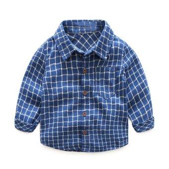 Mua Fashion Baby Boy Wear Plaid Single-breasted Blouse Tops Shirt Kids Clothes - intl giá tốt nhất