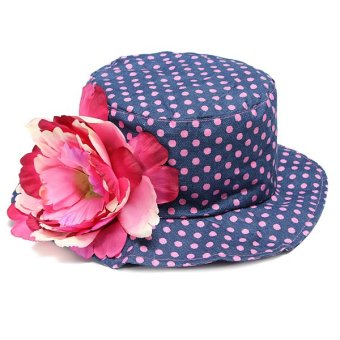 Fashion Design Lovely Girls Dot Pattern Floral Decoration Summer Sun Hats Children Caps - Intl