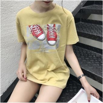 Áo thun nữ HQ hoạ tiết đôi giày siêu cute - A275 ( màu vàng )