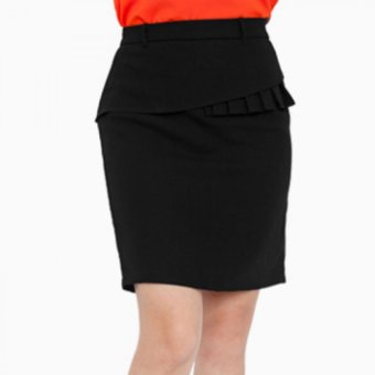 Chân váy ôm phối bèo - V05123060 (Đen)