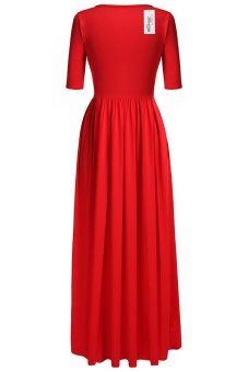 Cyber Meaneor Casual Medium Sleeve Solid Party Maxi Long Full Dress (Red) - intl