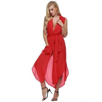 Cyber Zeagoo Women Sleeveless Slit Chiffon Maxi Shirt Dress With Belt ( Red ) - Intl