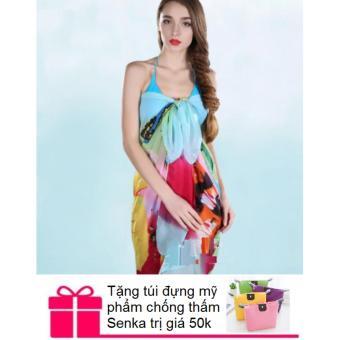 Khăn choàng /sarong đi biển + Tặng túi đựng mỹ phẩm