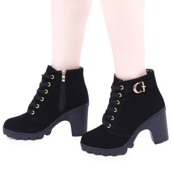 Stylish Pure Color Lace Up Zipper Decoration Ladies Thick High Heel Ankle Boots(Black) - intl
